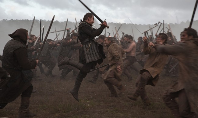 Where's Mel? Michael Fassbender gets to work in Macbeth.